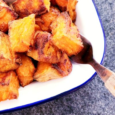 Garlic Roasted Sweet Potatoes (Gluten Free)