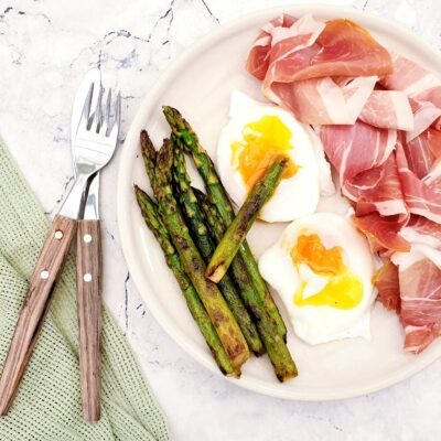 Asparagus with Poached Eggs & Prosciutto