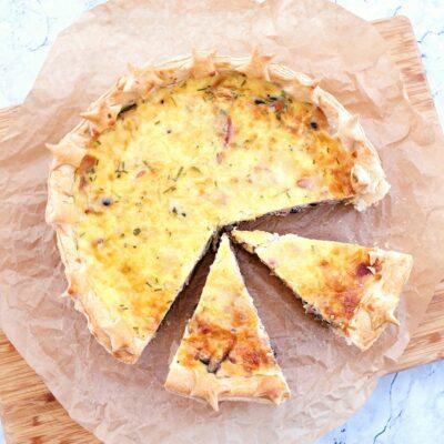 Puff Pastry Quiche with Bacon, Courgette & Mozzarella