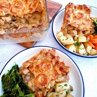Puff Pastry Pie with Chicken, Ham & Mushroom