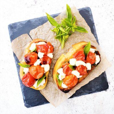 Confit Tomato Bruschettas with Pesto & Mozzarella
